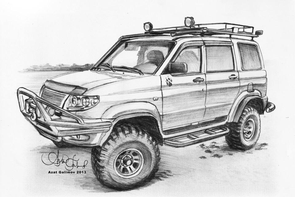... › Рисунки карандашом УАЗ Патриот: drive2.ru/b/853271