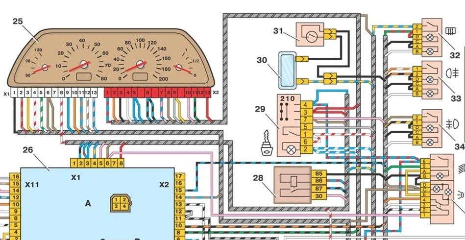 Схема панели на ваз 2110 инжектор