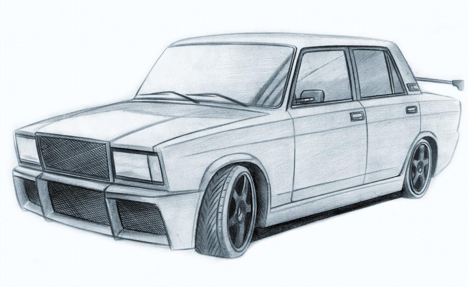 Как рисовать машину семёрку