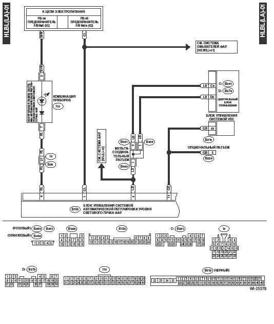 Схема ближнего света на субару