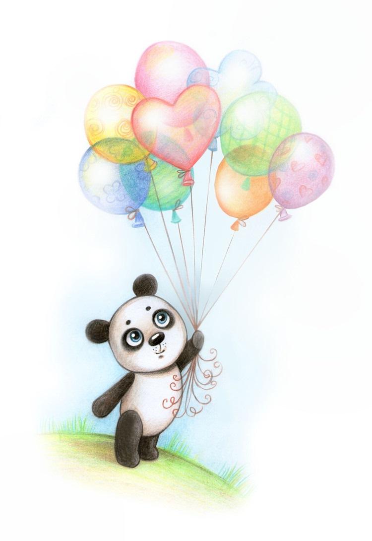 Картинки панды с шариками