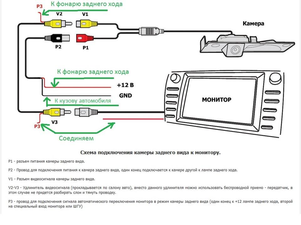 схема установки камеры заднего хода