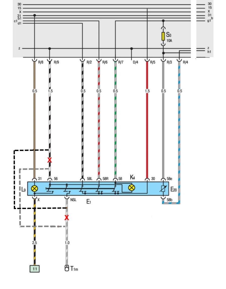 подключение биксенона через реле схема