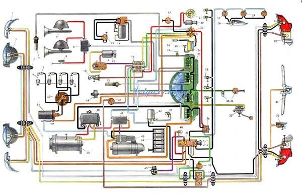 схема электропроводки газ-21