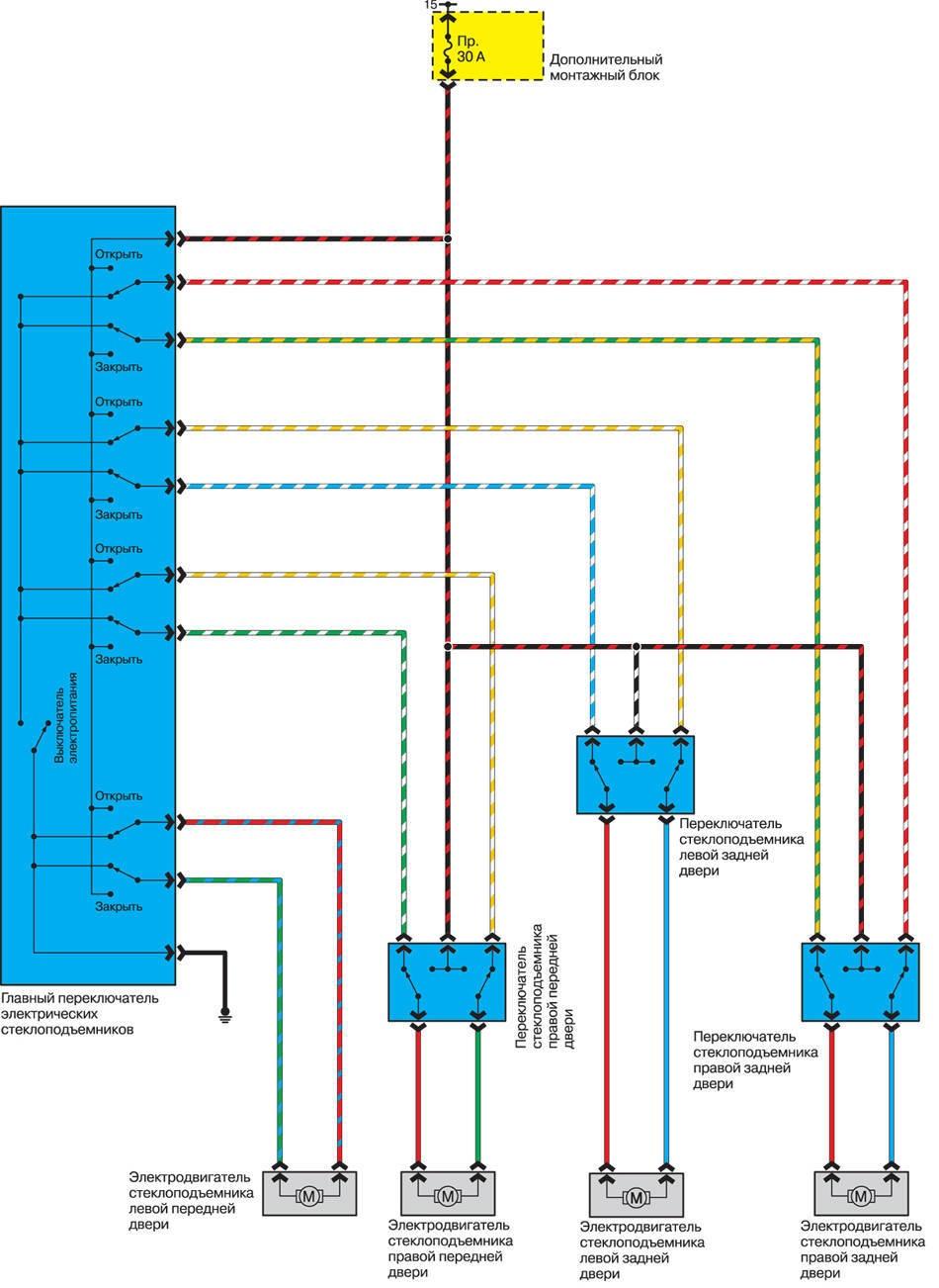 Схема авто стеклоподъемника