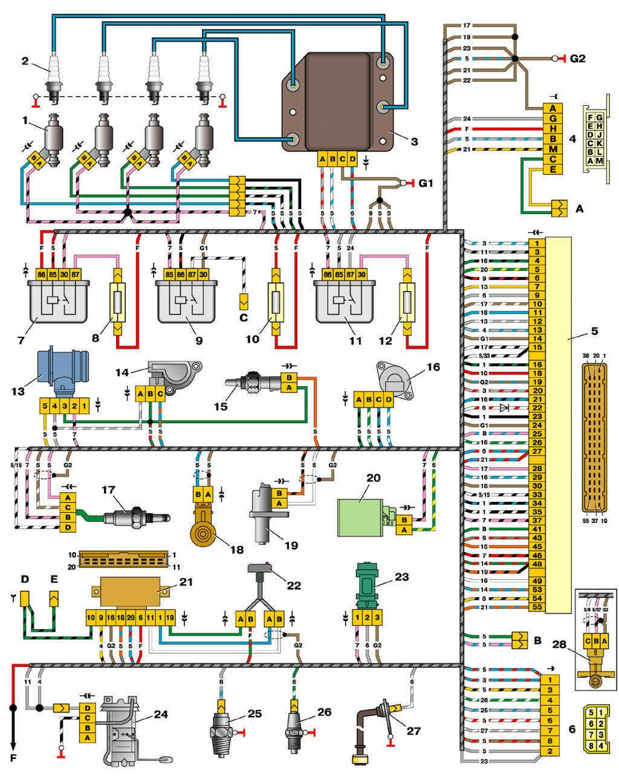 Схема ваз 2111 инжектор 16 клапанов схема