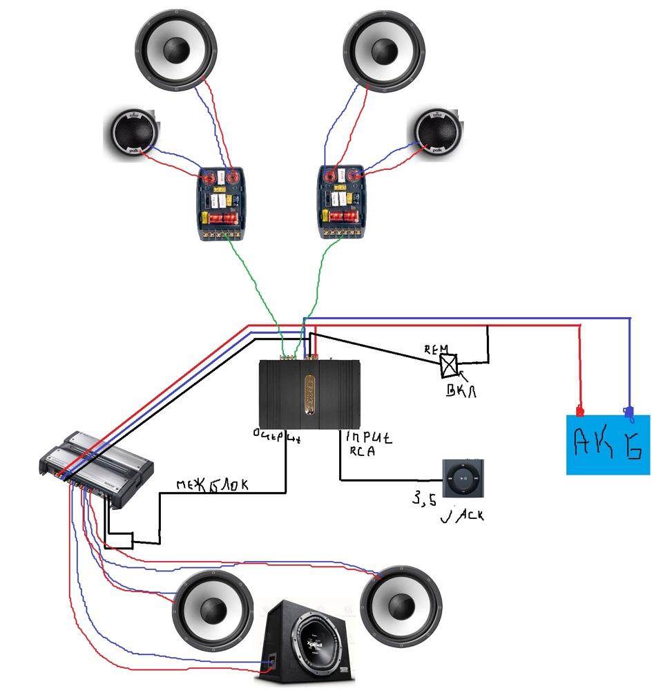 схема подсоеденения сабвуфера в авто