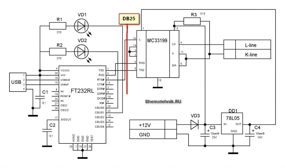 K line адаптер своими руками на ft232rl
