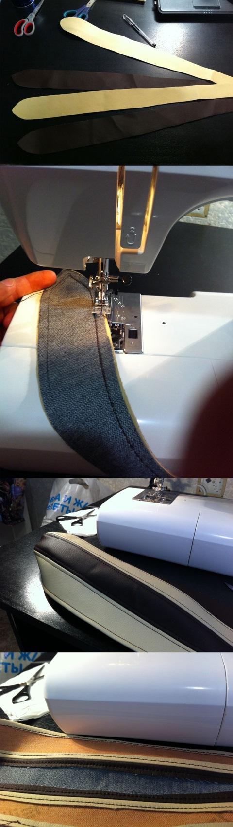 Перетяжка сложных элементов с машинным швом