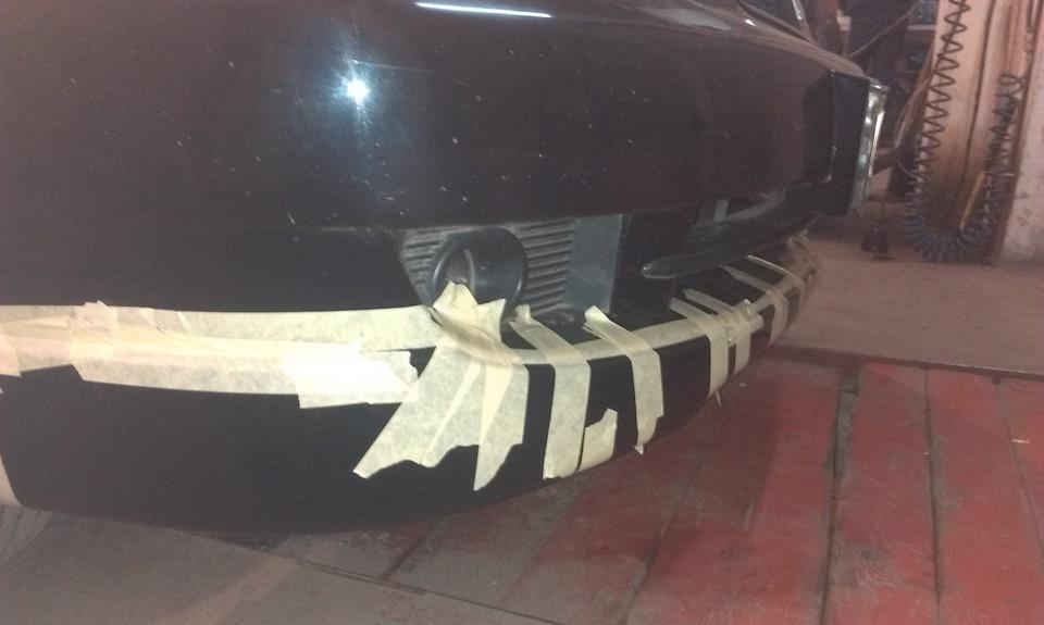 Установка накладки на передний бампер