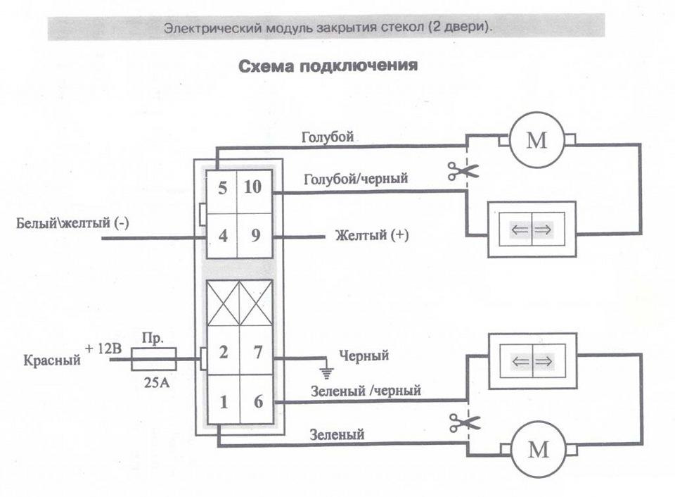 Схема подключения доводчика