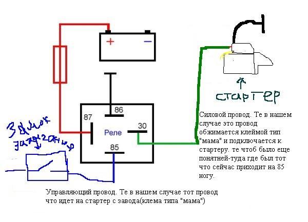 Схема установки дополнительного реле стартера ваз 2110