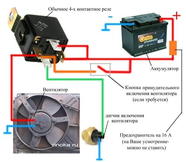 Делаем 2-скорости вентилятора охлаждения на ваз | схема-авто.