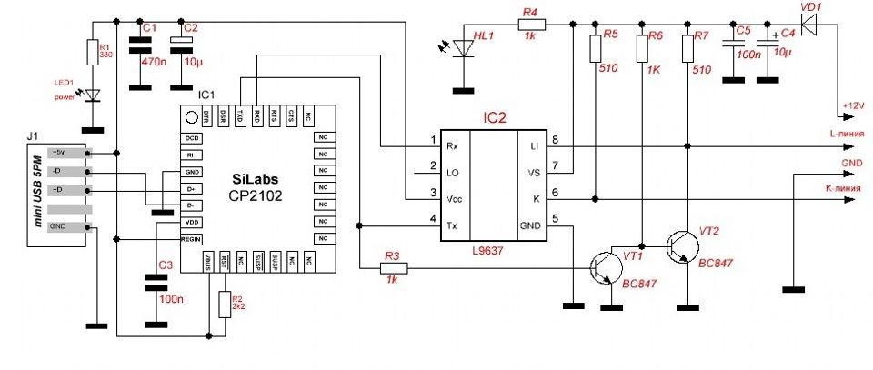 Usb k l line адаптер k-line usb схема