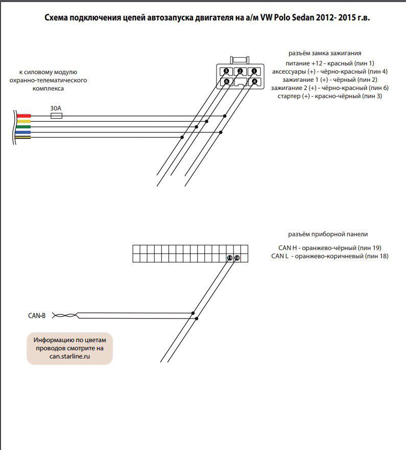 схема подключения автозапуска на поло седан