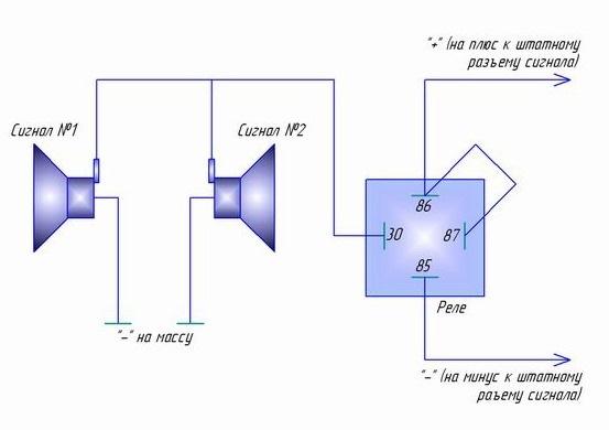 Схема подключения волговских сигналов через реле фото 819