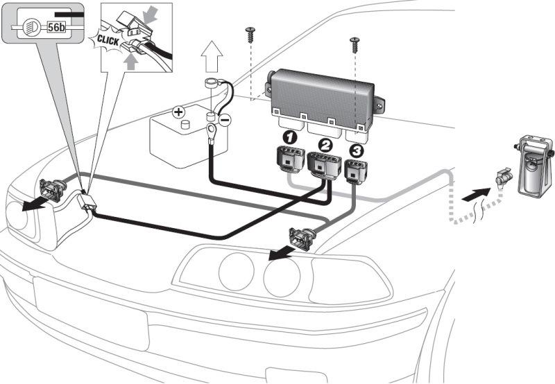 Расположение и схема соединений электрических разъемов автокорректора HELLA-8XX 008 614-011.  1 - разьём датчиков, 2...