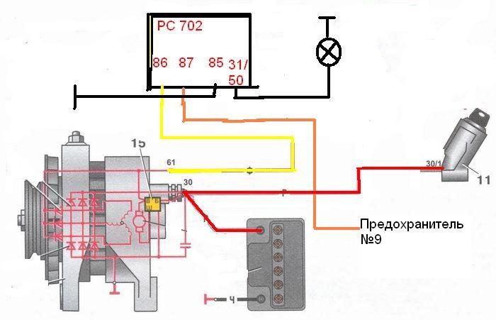 Схема зарядки ваз 2108