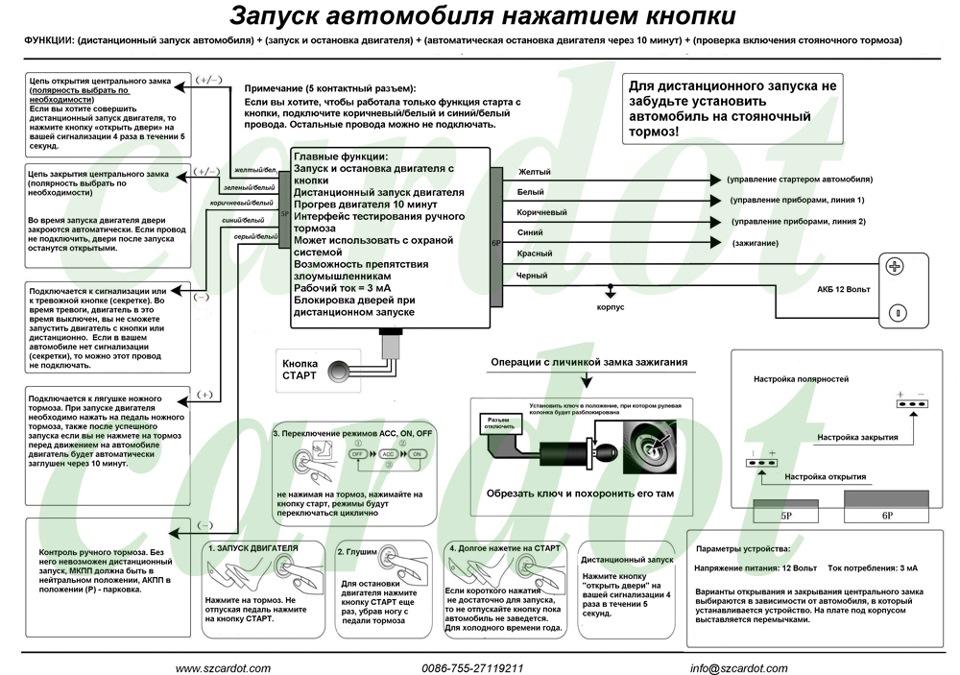 Инструкция по установке кнопки старт стоп на русском