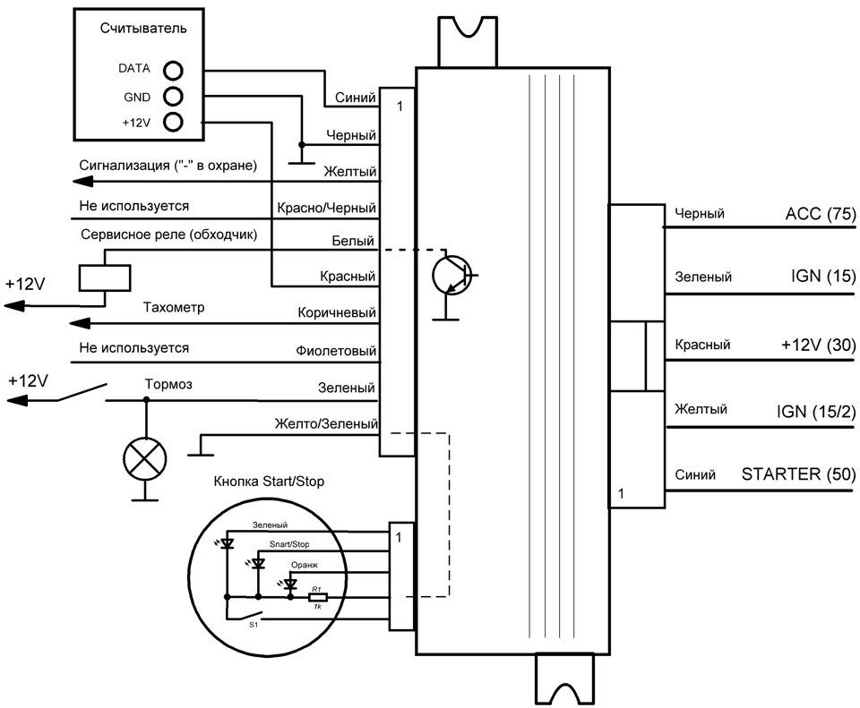 Схема подключения блока