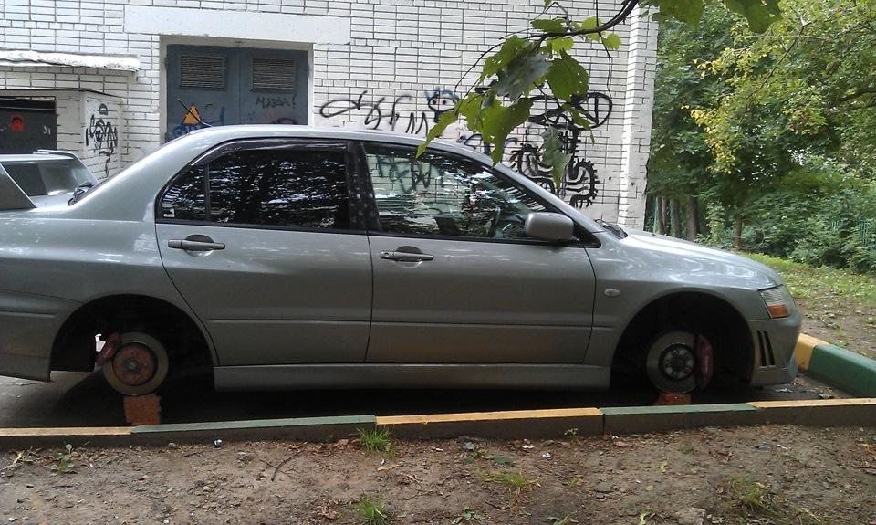 Mitsubishi Lancer Evolution Мышка Бортжурнал Рассказ как у меня колеса украли))))) 59