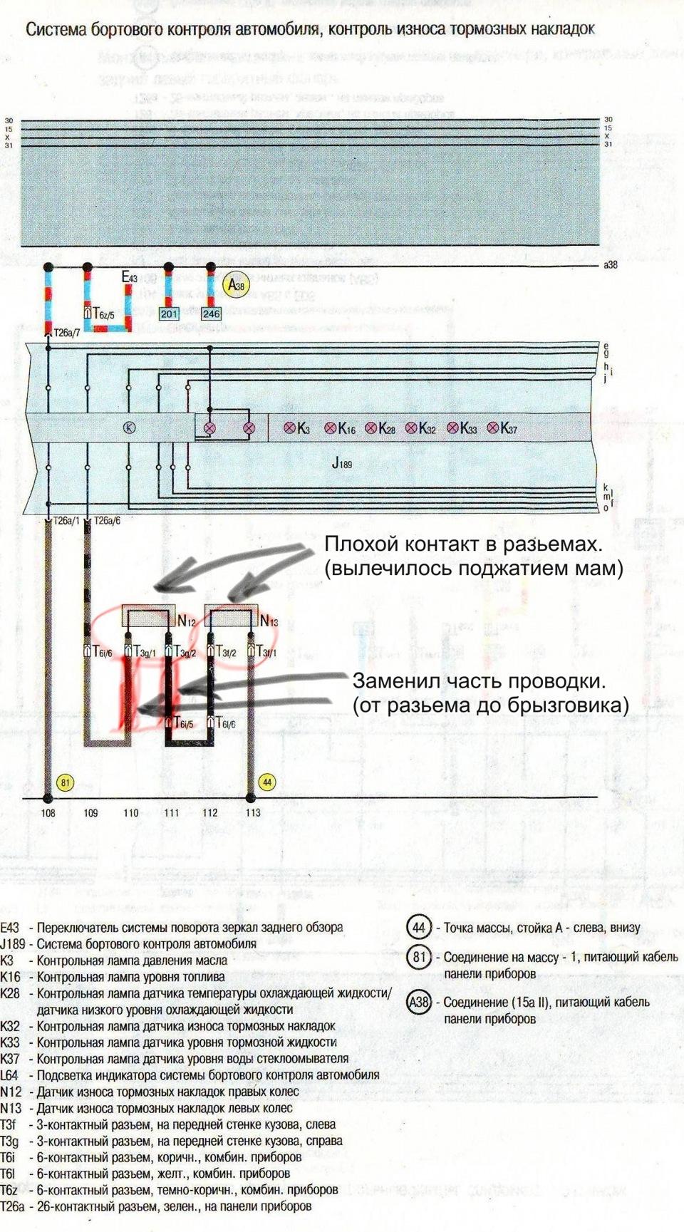 audi a6 c5расположение разъёмов датчиков износа тормозных колодок