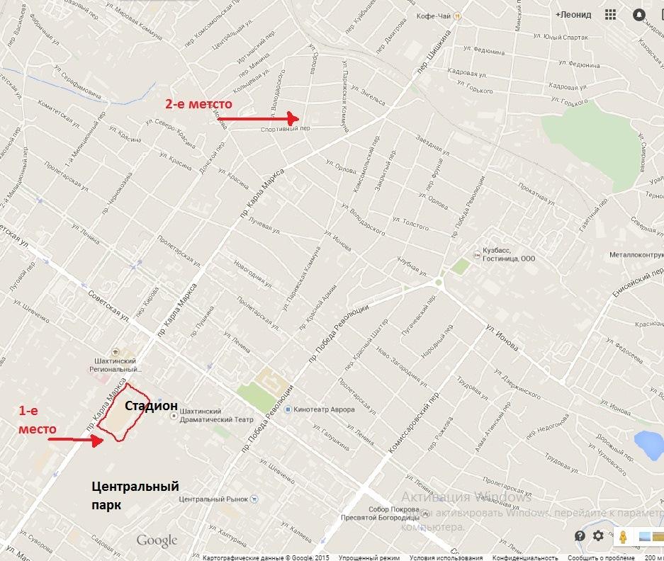 Карта граффити г. Шахты