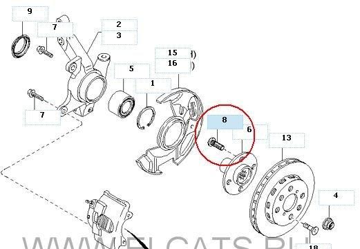 Общая схема передней ступицы и