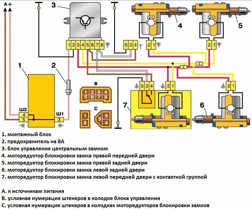 Фото №3 - схема подключения центрального замка ВАЗ 2110