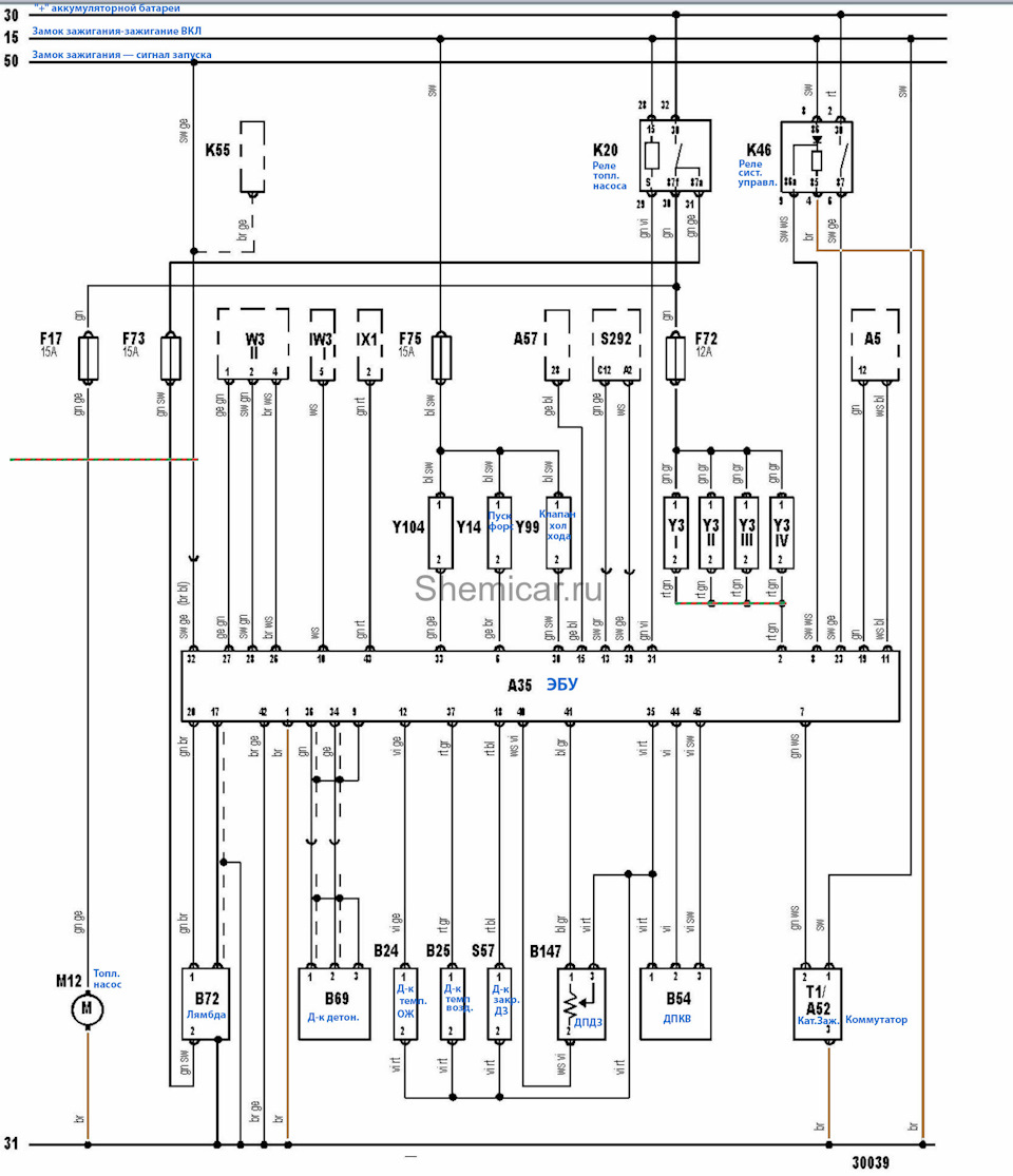 The Electroscheme Engine Management System Bosch Digifant Audi Starter Motor Wiring Diagram 50 Ignition Switch Start Signal A5 Instrument Cluster A35 Control Module A52 Switchboard A57 Electronic Gearbox Unit