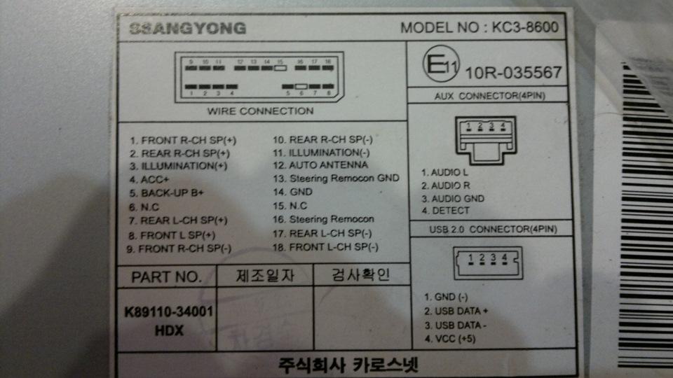 Фото № 2251 Разъемы для подключения автомагнитолы на санг енг актион