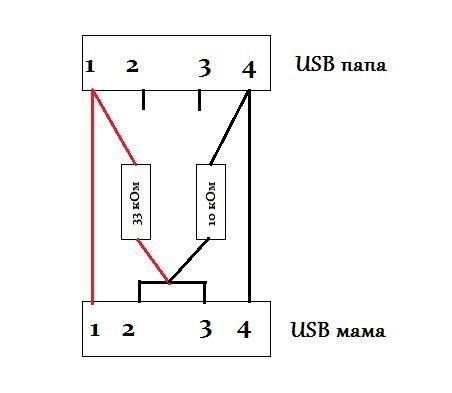 Схема пайки. USB-PS2 — МАМА