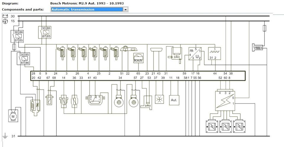Diagram of ECU 021 906 258 AF Bosch Motronic M2 9 1993