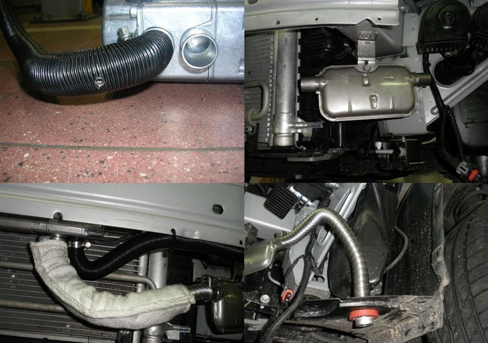 Организация подачи воздуха в камеру сгорания и отвода отработанных газов при установке предпускового подогревателя двигателя Eberspacher Hydronic / Эберспехер / Эбершпехер Гидроник B4WS