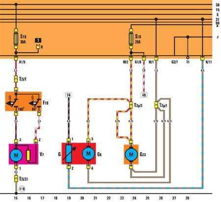 V7 – вентилятор радиатора