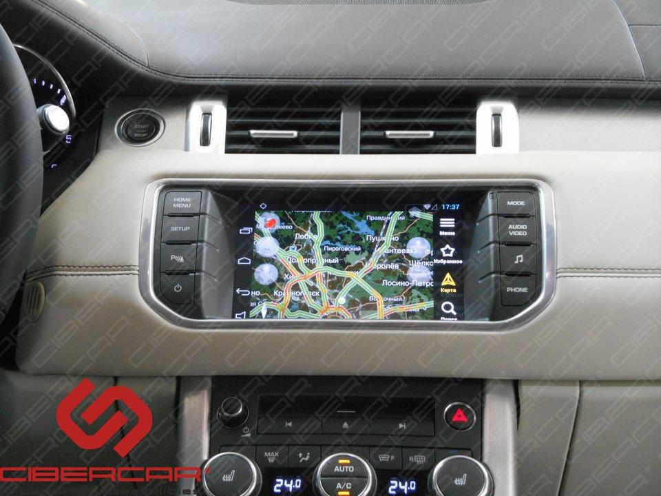 Яндекс-навигатор на штатном емкостном экране Range Rover Evoque 2015.