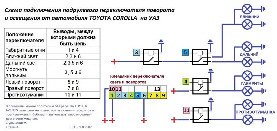 Схема подключения поворотников