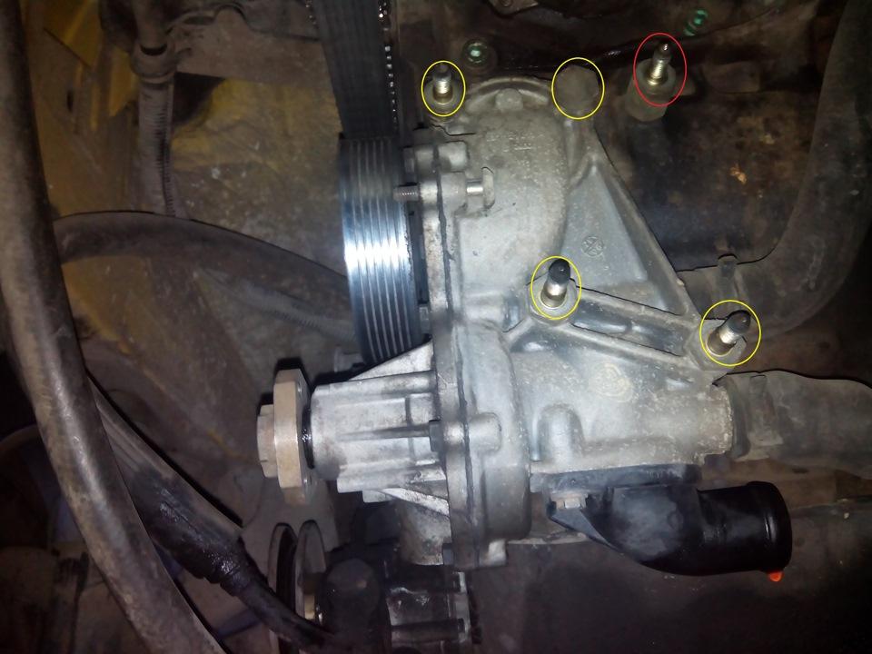 Схема привода помпы двигателя abl
