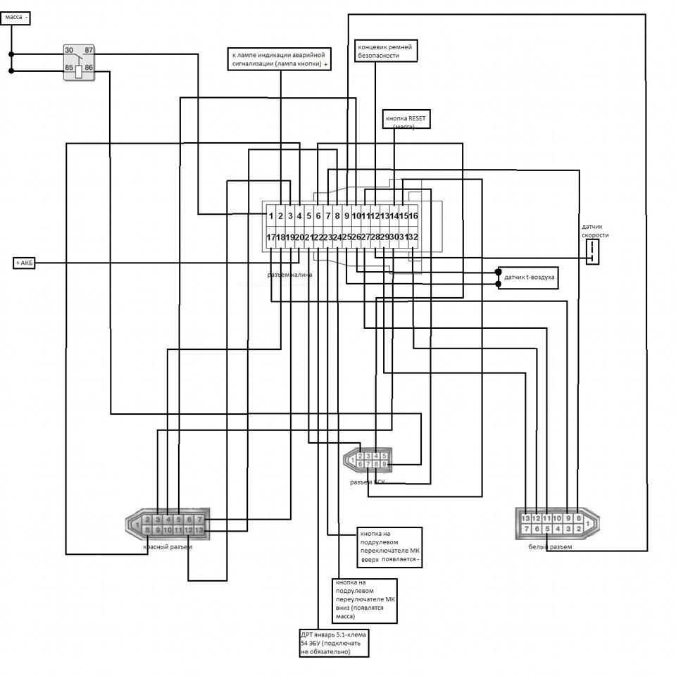 схема подключения щитка приборов флеш