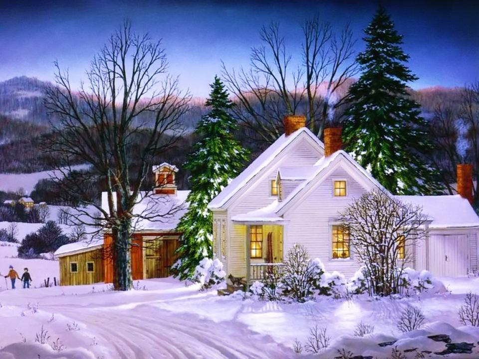 Стильные, открытка с новогодним домиком