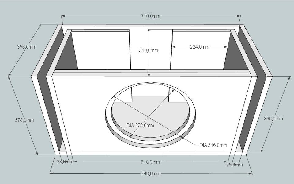 Как сделать короб под сабвуфер схема 103