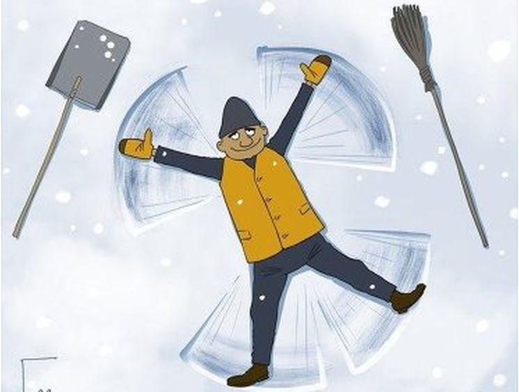 прикольные открытки с уборкой снега касается фигуры, одежды