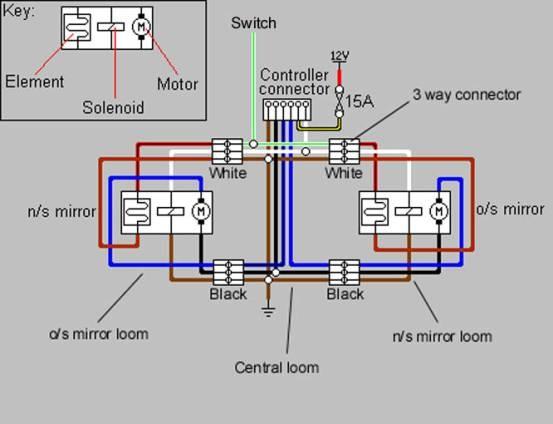схема подключения зеркал с подогревом на фольксваген