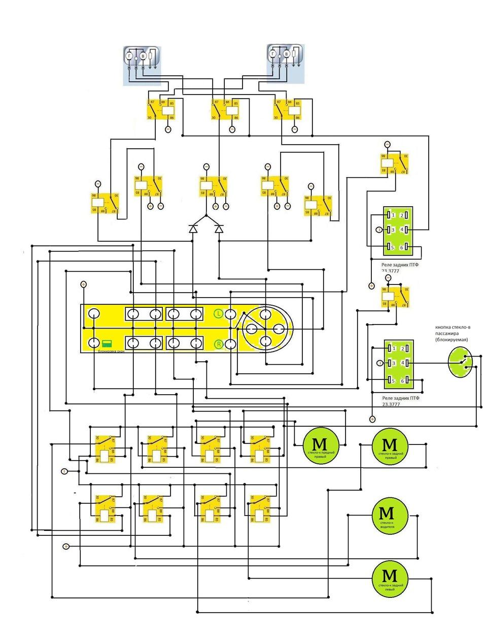 схема блока управления зеркалами приоры