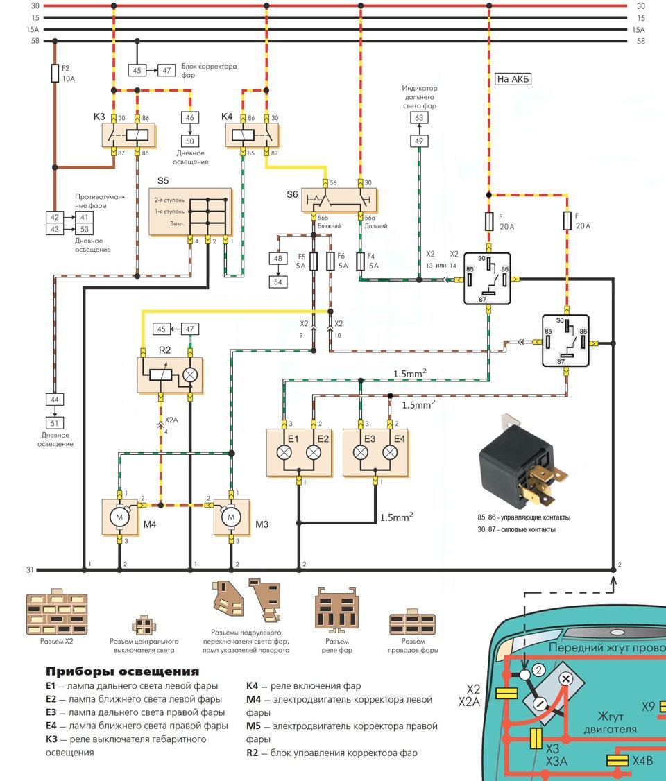 Схема проводки для фар