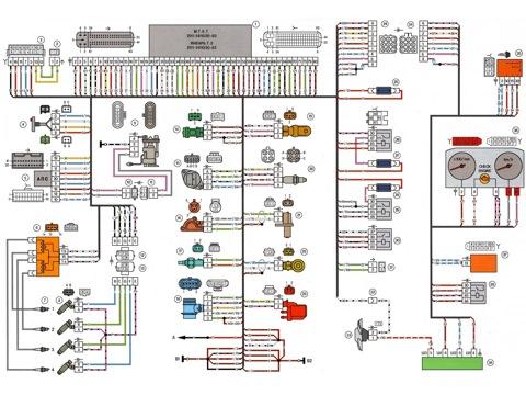 2115-3724026-11 - Жгут системы зажигания; 1- контроллер; 2- колодка жгута системы зажигания к жгуту салонной группы...