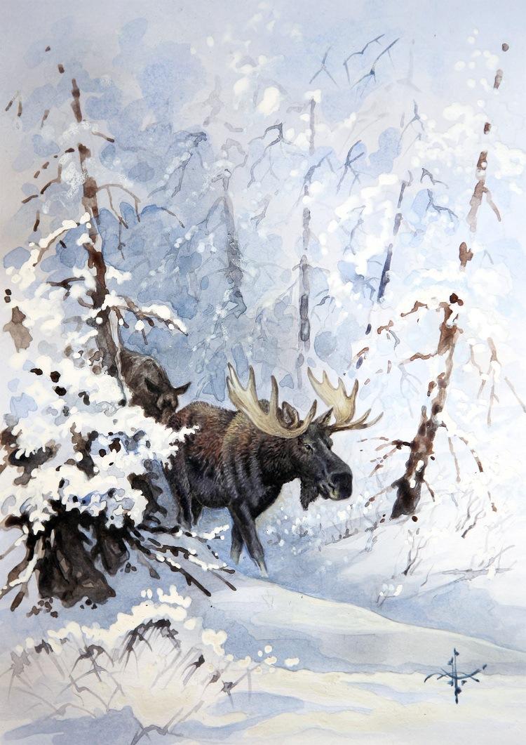 охотник в зимнем лесу рисунок родственники