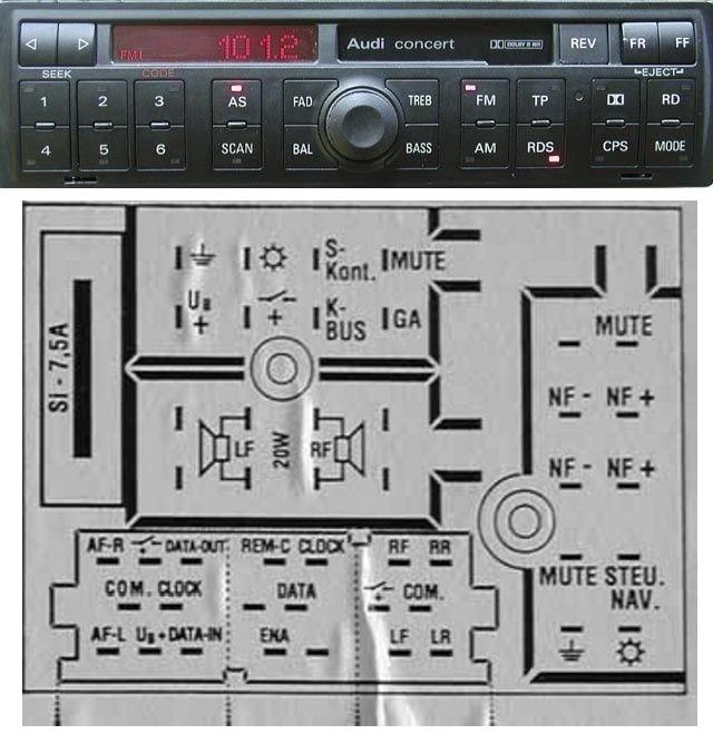 подключение магнитолы audi chorus
