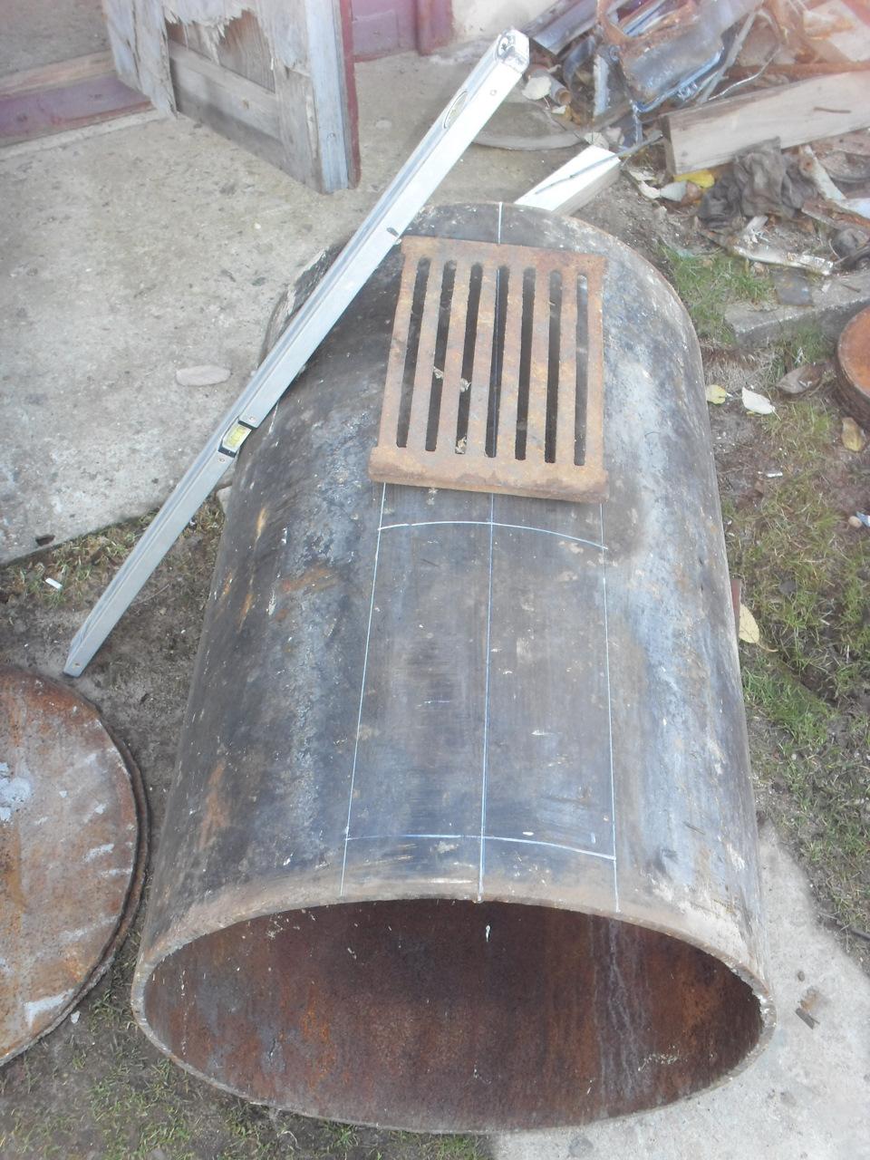 Печь для гаража из трубы 500 мм своими руками 75