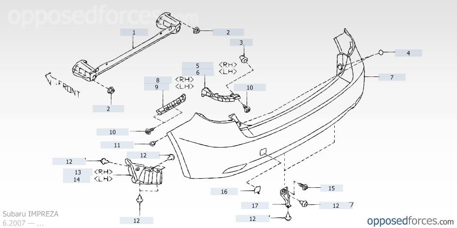 Схема крепления бампера